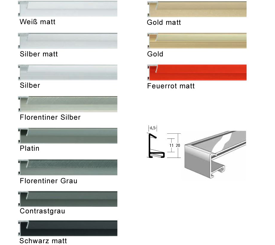 nielsen alurahmen 80x100 cm profilbreite 6 5 mm. Black Bedroom Furniture Sets. Home Design Ideas