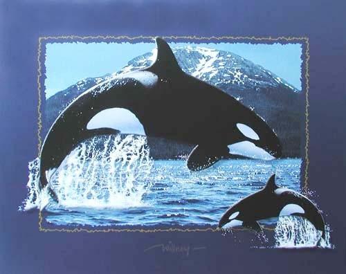 Zwei Orcas Fotomontage in Blau Poster
