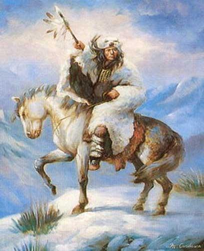 Indianer Krieger auf Pferd nach links Poster