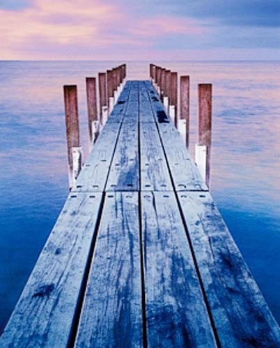 Sonnenuntergang am See, Holzsteg Poster
