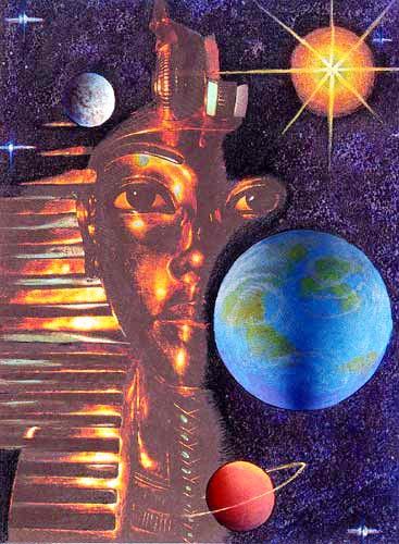 Fantasie Tutanchamun-Maske und Universum Alu Bild