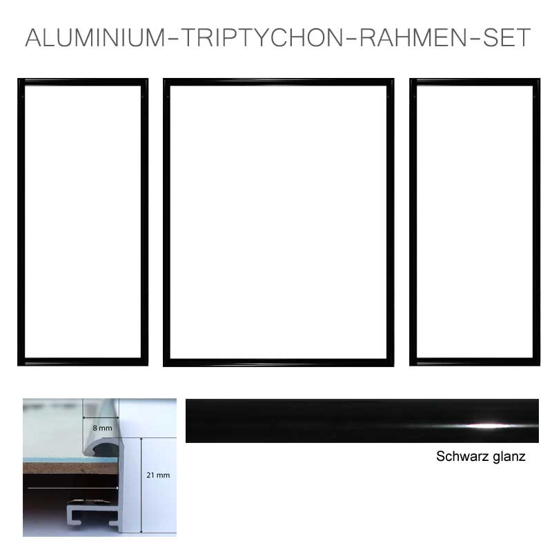 aluminium bilderrahmen f r triptychon bilder profil 8 mm. Black Bedroom Furniture Sets. Home Design Ideas