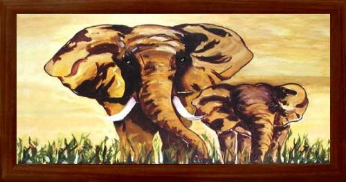 Zwei Elefanten Wandbild 66x90 cm