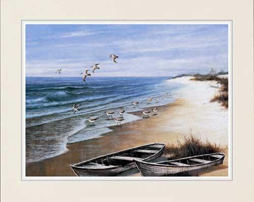 Zwei Boote am Strand und Möwen- Kunstdruck 56x71 cm