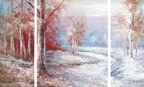 Winterlandschaft mit zugefrorenem Fluss, Triptychon