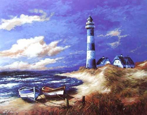 Blauer Leuchtturm II Kunstdruck 56x71 cm