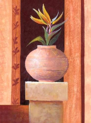 Stillleben, Gelbe Paradiseblume im Krug Kunstdruck