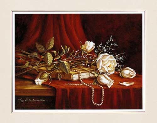Weiße Rosen mit Perlenkette Kunstdruck