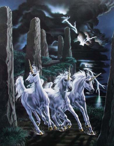 Drei Einhörner im Gewitter Poster