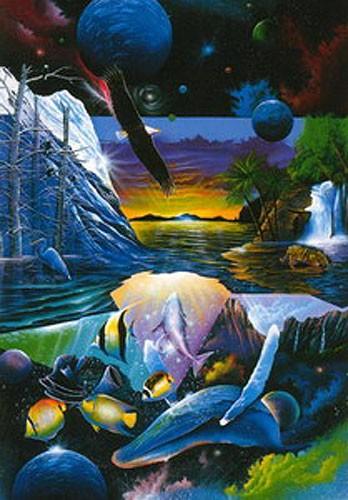 Tropical Paradise Fantasy Kunstdruck mit Goldprägung 40x50