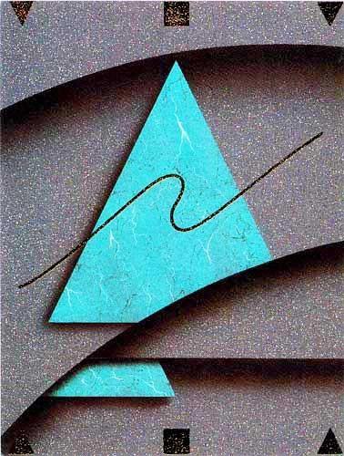 Grünes Dreieck mit Abstraktem Hintergrund- Bild 20x15