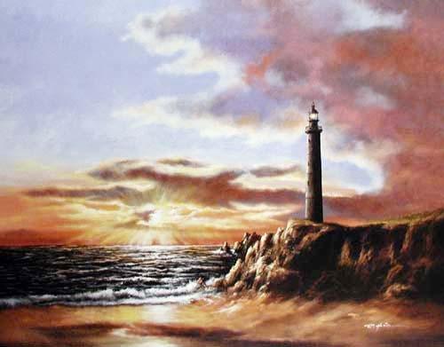 Leichtturm bei Sonnenuntergang Poster 40x50