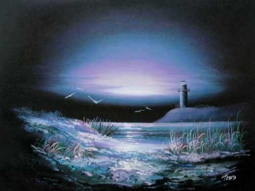 Seeblick mit Leuchtturm bei Nacht Poster