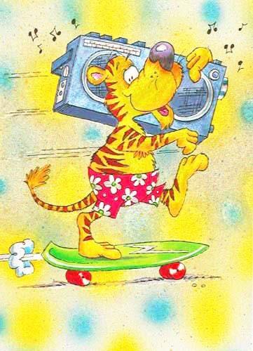 Tiger on Skateboard *