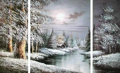 Winterlandschaft mit Fluss, Triptychon