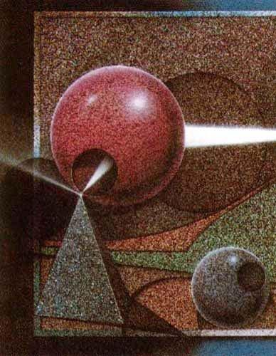 Abstraktes Bild mit Pyramide und Kugeln