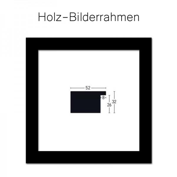Holz-Bilderrahmen 90x90 cm, Nielsen Holz Profil 52 mm in Schwarz - Blackwoods 52