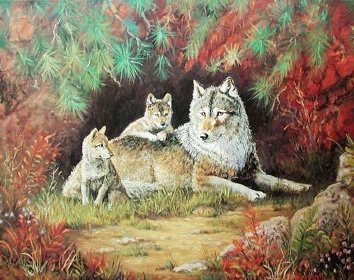 Wölfin und Welpen by Marianne Caroselli