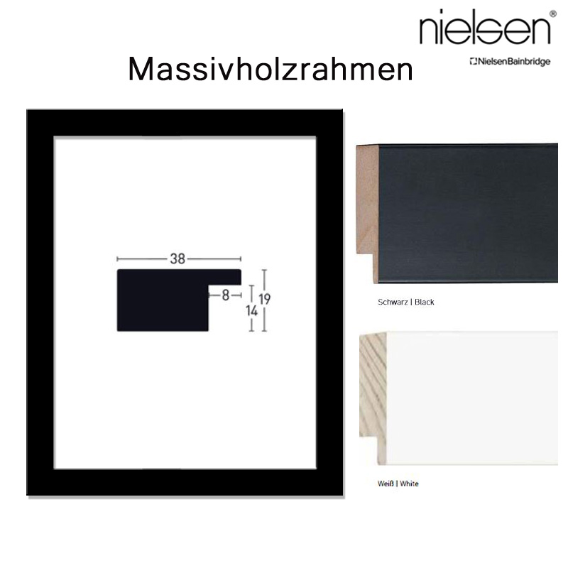 nielsen holzrahmen 100x140 140x100 cm kantiges profil 38 mm in. Black Bedroom Furniture Sets. Home Design Ideas