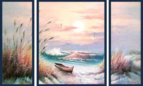 Brandung im Sonnenuntergang III, Triptychon Wandbild