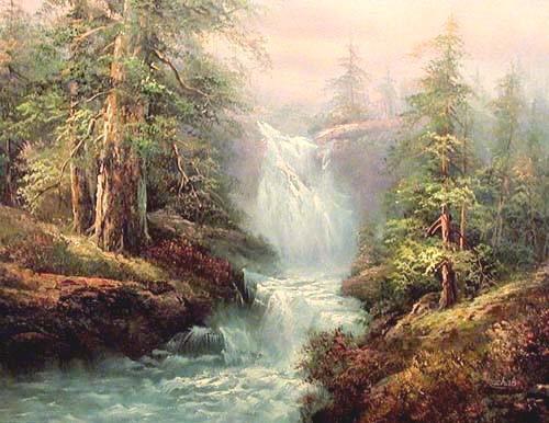 Landschaft mit schönem Wasserfall Kunstdruck