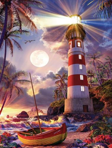Rot-weißer Leuchtturm unter Beleuchtung Alubild