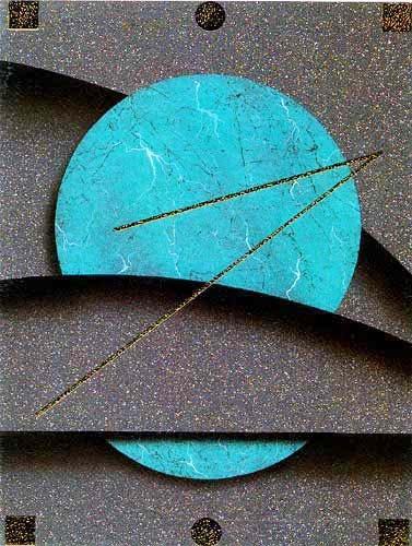 Grüner Kreis mit Abstraktem Hintergrund- Bild 56x71