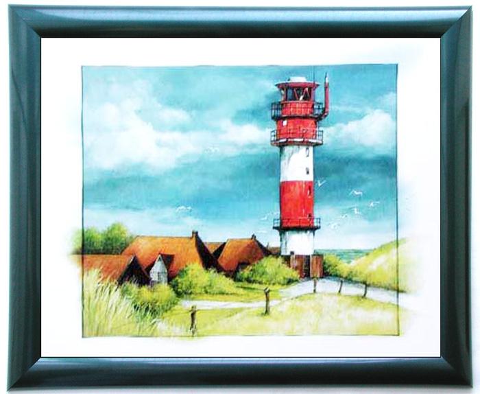 wandbild rot wei er leuchtturm am tag 50x60 cm. Black Bedroom Furniture Sets. Home Design Ideas