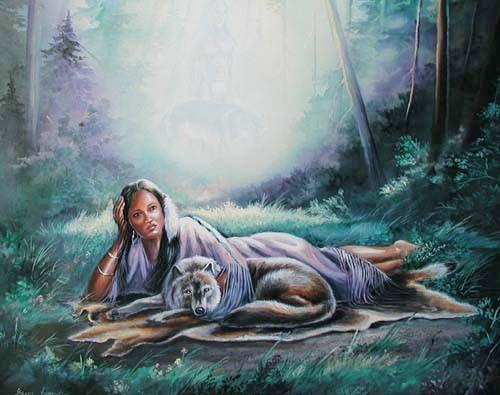 Indianerin und Wolf von G. Femrite Poster 40x50