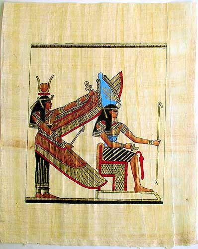 Isis und Achnaton Papyrusbild