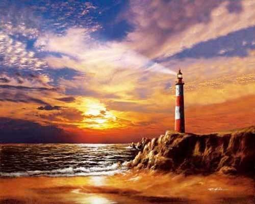 Leuchtturm unter Beleuchtung Poster