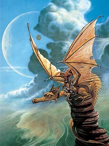 Drache und Drachenreiter Alu Bild