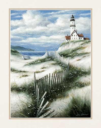 Leuchtturm Sanddünen von Chiu Kunstdruck 20x25 cm