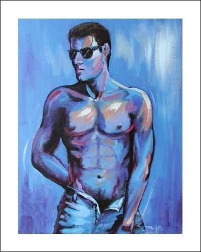 Männlicher Akt in Blau- Poster