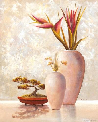 Stilleben, Zwei Weiße Vasen und Bonsai Baum II, S. Sauci