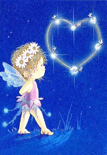 Kleine Fee mit Glühwürmchen Postkarte