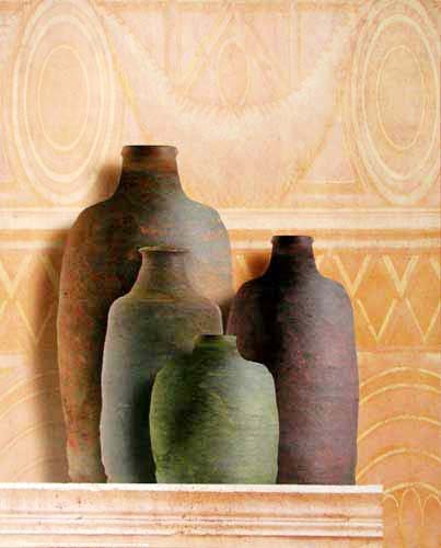 Vier Terracotta Krüge auf Sockel Poster