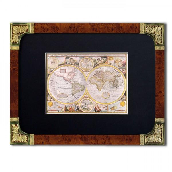 Wandbild: Historische Weltkarte mit Echtsilber Stilrahmen