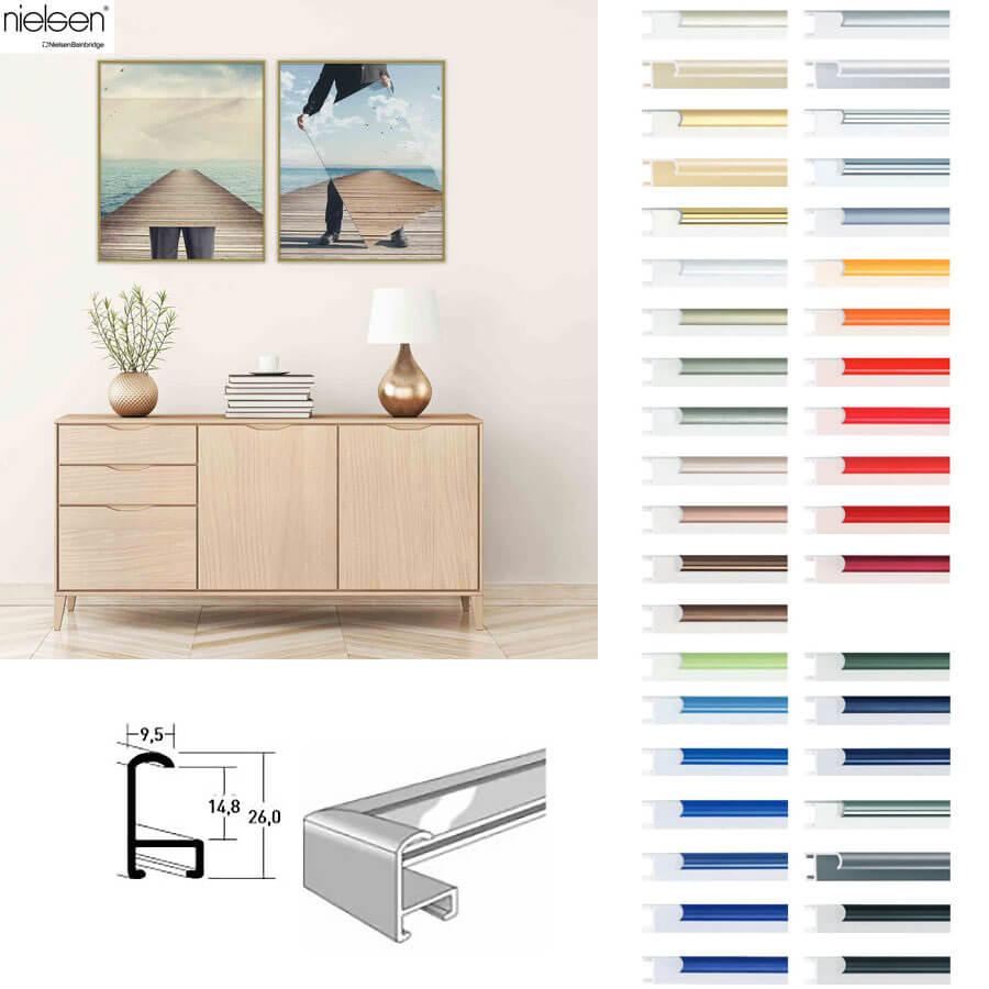 nielsen aluminium rahmen 80x100 100x80 klassisches profil 9 5. Black Bedroom Furniture Sets. Home Design Ideas
