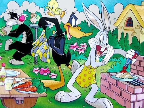 Looney Tunes, Picknick- Alu Bild 21x26