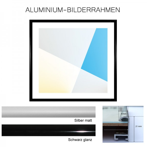 Aluminium Bilderrahmen 60x60 Leiste 8 mm in Schwarz glanz und Silber matt