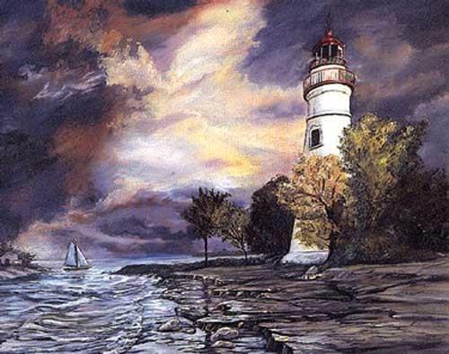 Weißer Leuchtturm Poster
