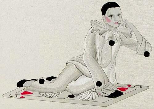 Pierrot auf Karte, silber