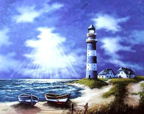Blauer Leuchtturm und Sonnenstrahlen Poster 40x50