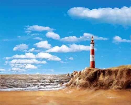 Leuchtturm bei Tag - Kunstdruck / Poster 40x50 cm