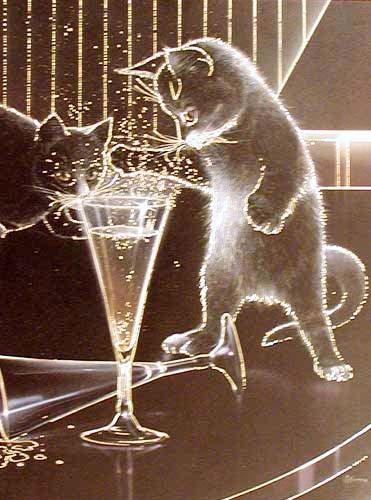 Zwei Katzen mit Sektglas Bild