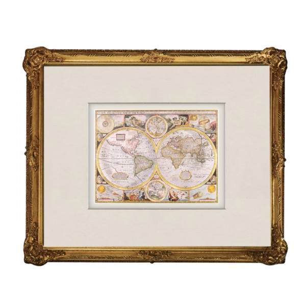 Wandbild: Historische Weltkarte mit Barockrahmen