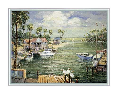 Sicherer Hafen mit Pelikanen, Conte Kunstdruck 56 x 71 cm