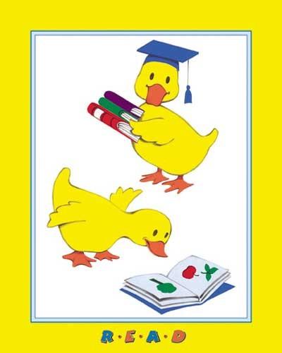 Gelbe Entchen lesen - Kinderposter 20x25 cm
