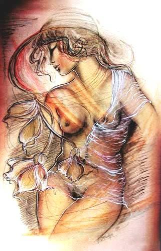 Frauenakt veredelter Kunstdruck 50x70